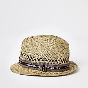 Maison Riviera– Chapeau trilby grège en paille pour garçon
