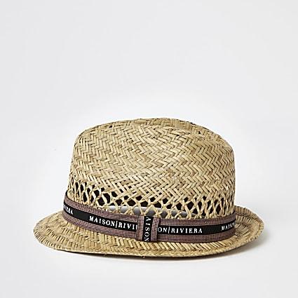 Boys stone straw Maison Riviera trilby hat