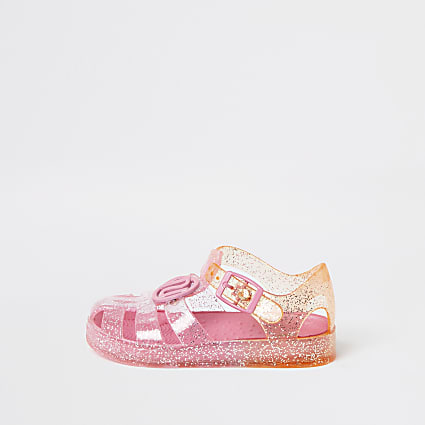 Mini girls pink ombre jelly sandals
