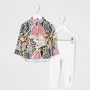 Mini girls pink printed shirt outfit