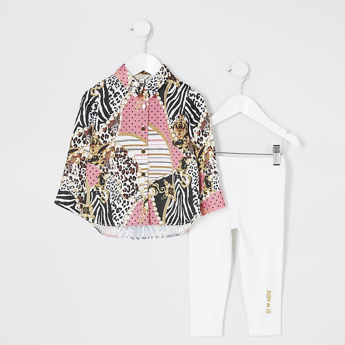 Mini - Roze overhemd outfit met print voor meisjes