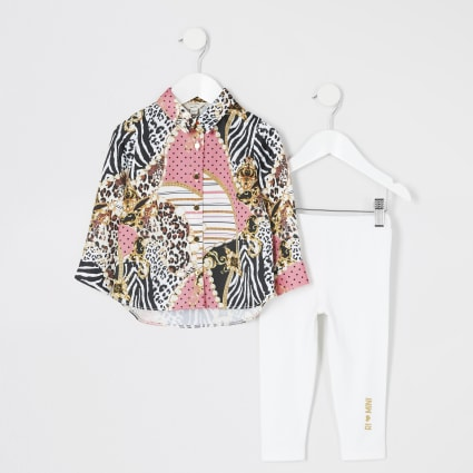 Mini girls pink printed shirt outfit