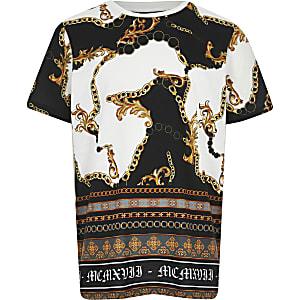 Wit T-shirt met barokke print voor jongens