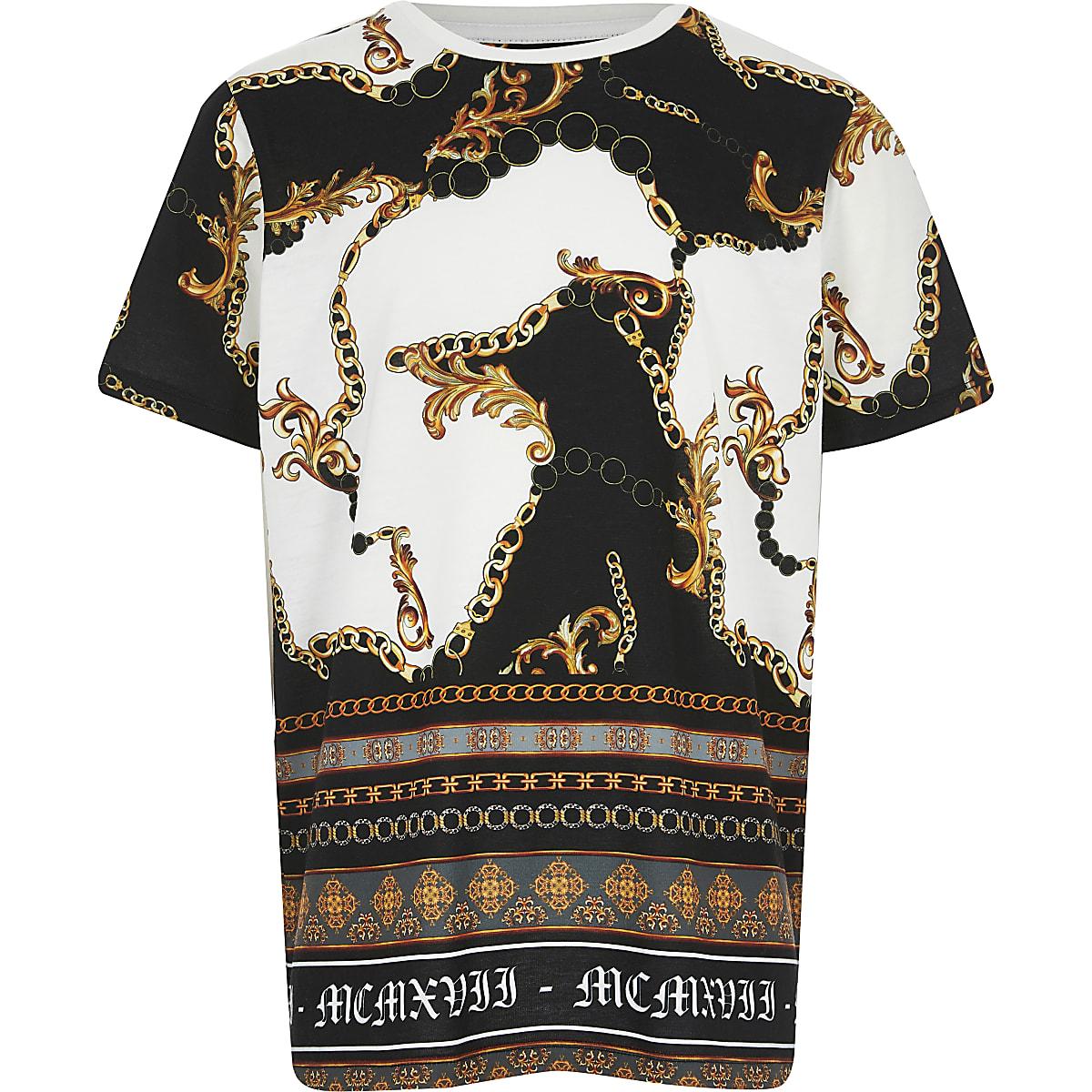 T-shirt imprimé baroque blanc pour garçon