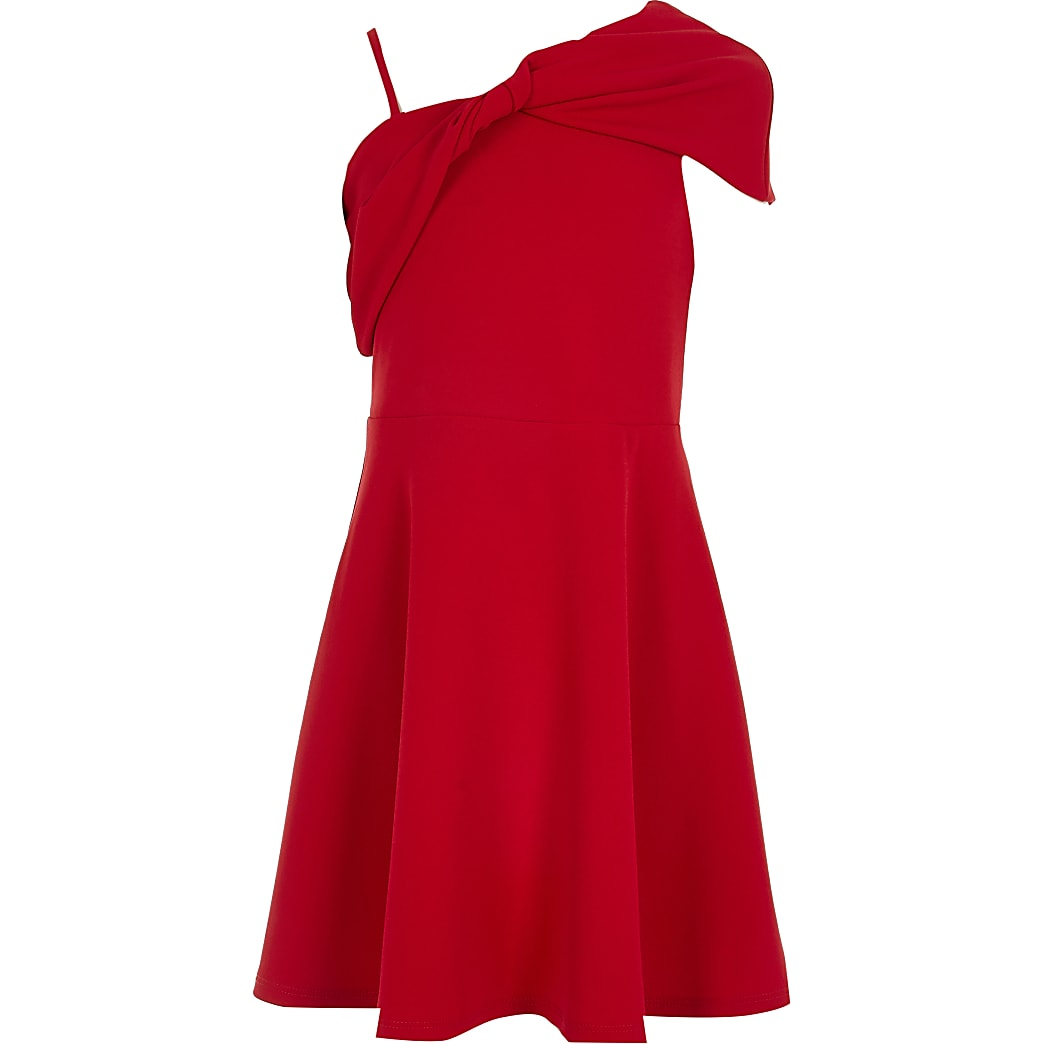 Girls red bow one shoulder skater dress