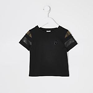 Mini - Maison Riviera - Zwart T-shirt met kleurvlakken voor jongens