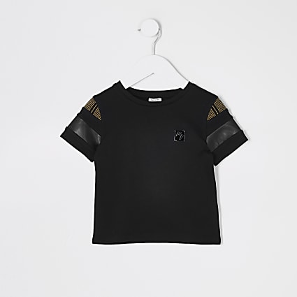 Mini boys black block Masion Riviera T-shirt