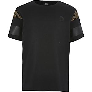 Maison Riviera – Schwarzes T-Shirt in Blockfarben für Jungen