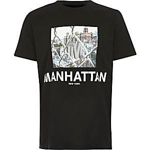 Schwarzes T-Shirt mit Manhattan-Print für Jungen