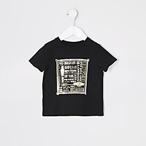 T-shirt noir à imprimé métallisé Mini garçon