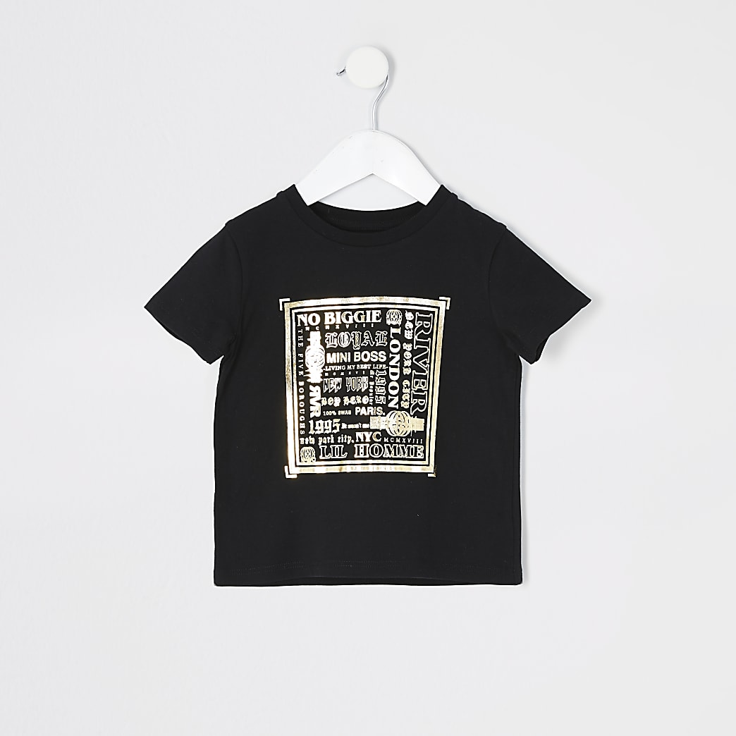 Mini boys foil printed black T-shirt