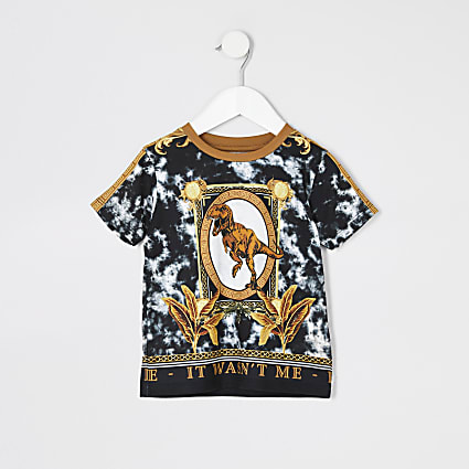 Mini boys white baroque dinosaur T-shirt