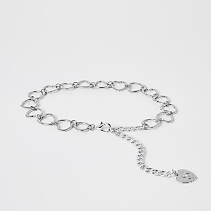 Girls silver heart chain belt