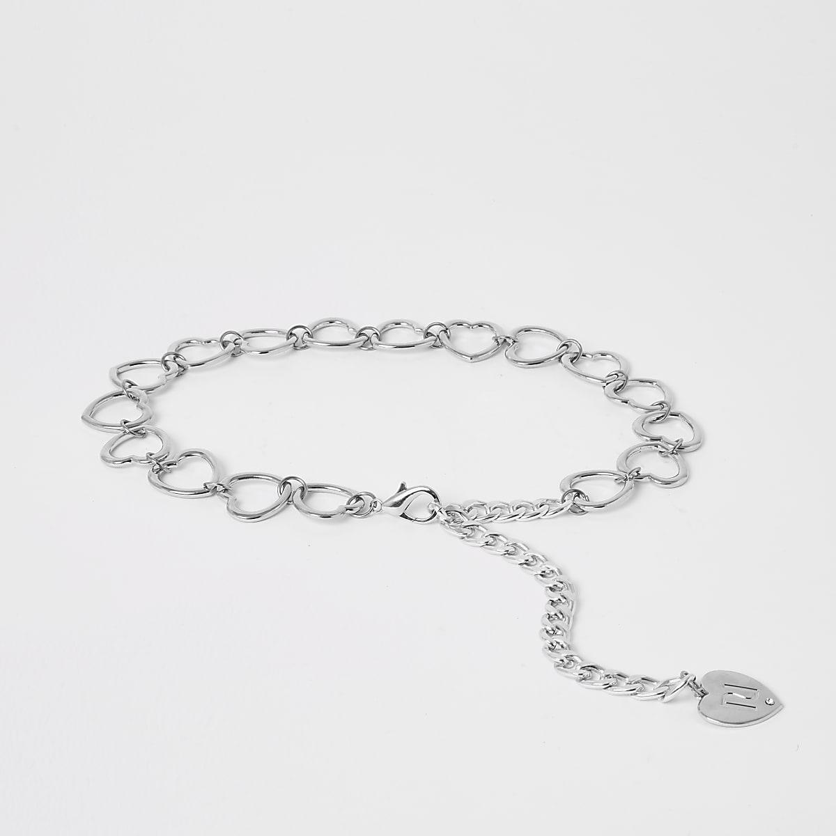 Girls silver heart chain belt