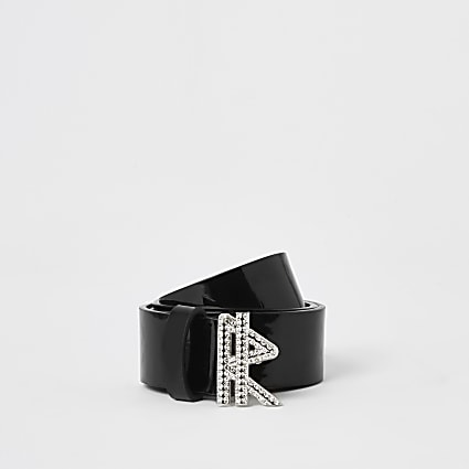 Girls black patent 'R' diamante buckle belt