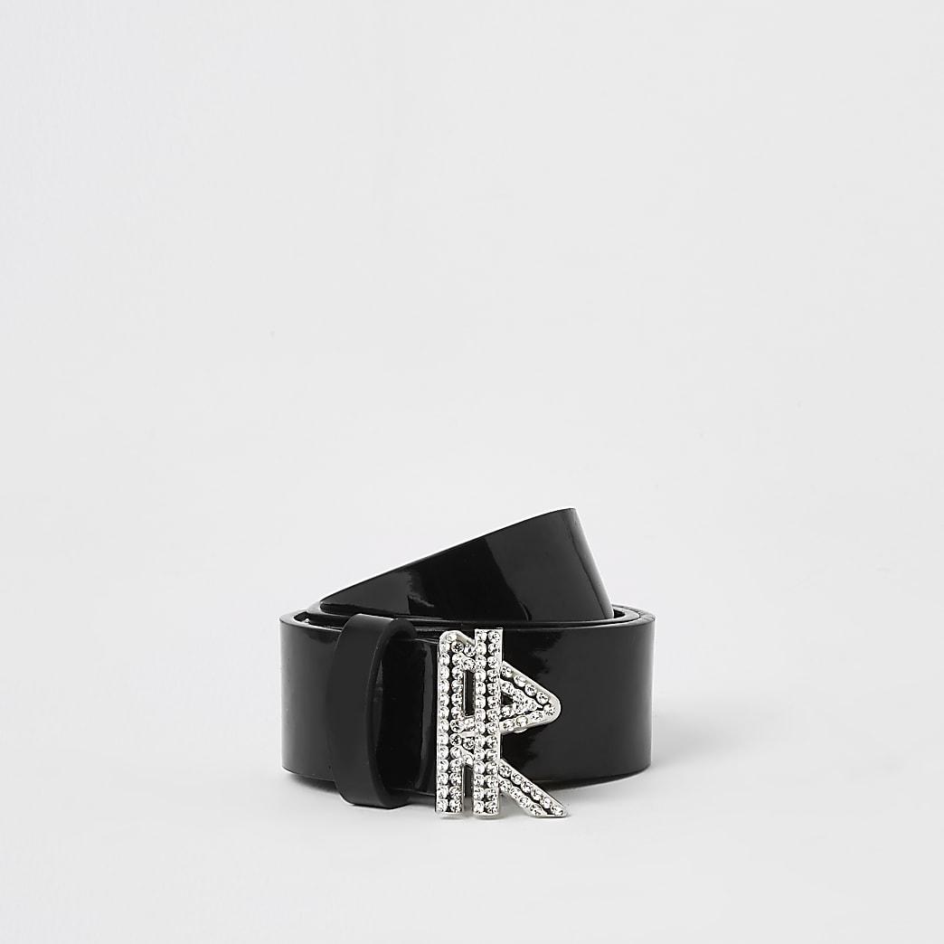 Girls black patent 'R' diamante buckle belt