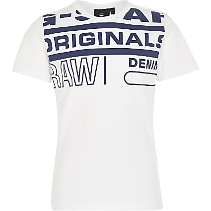 Boys G-Star Raw white printed T-shirt