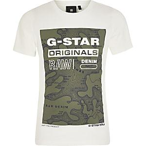 G-Star rRaw - T-shirt imprimé crème pour garçon