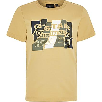 Boys G-Star Raw yellow printed T-shirt