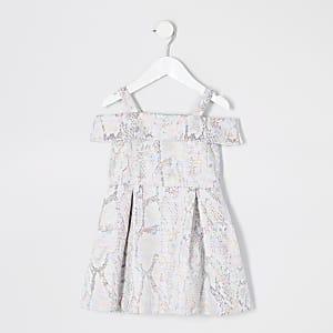 Silbernes Jacquard-Ballkleid für kleine Mädchen