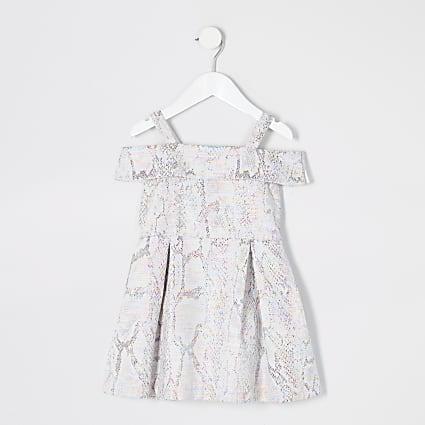 Mini girls silver jacquard prom dress