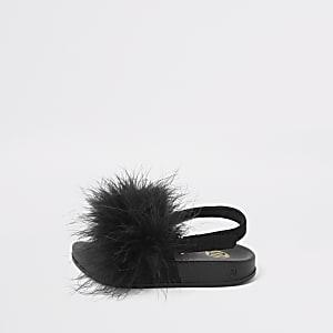 Mini girls black marabou fluffy sliders