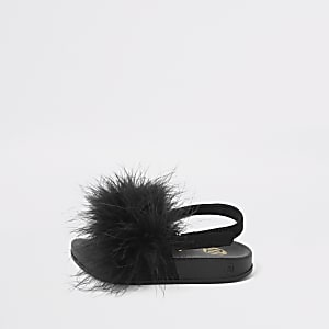 Mini girls black marabou fluffy sliders