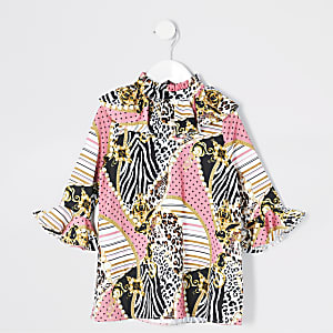 Pinkfarbenes Barock-Kleid mit Rüschenärmeln für kleine Mädchen