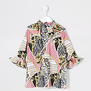 Mini - Roze jurk met barokprint en mouwen met ruches voor meisjes