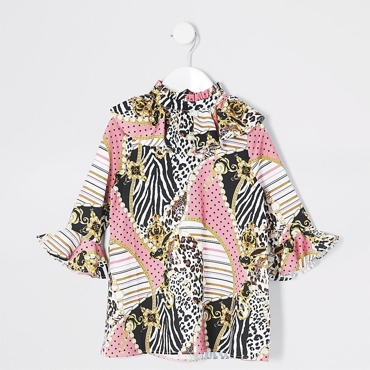 Mini girls pink baroque frill sleeve dress
