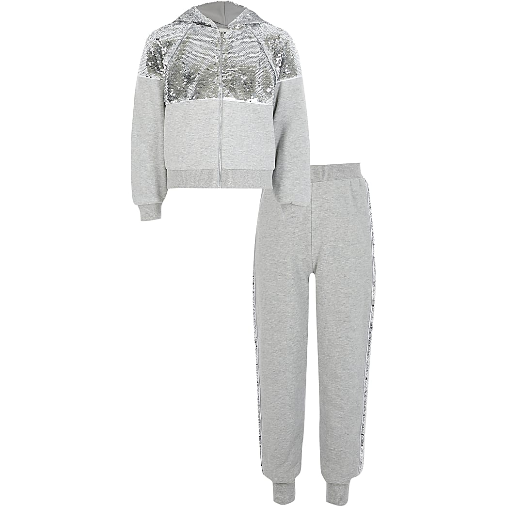 Girls grey sequin zip front hoodie outfit