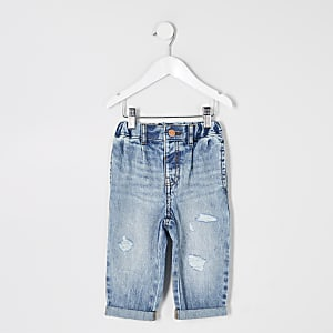 Mini - Blauwe washed ripped Mom jeans voor meisjes