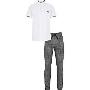 Weißes Poloshirt-Outfit mit Grandad-Kragen für Jungen