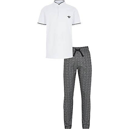 Boys white grandad collar polo shirt outfit