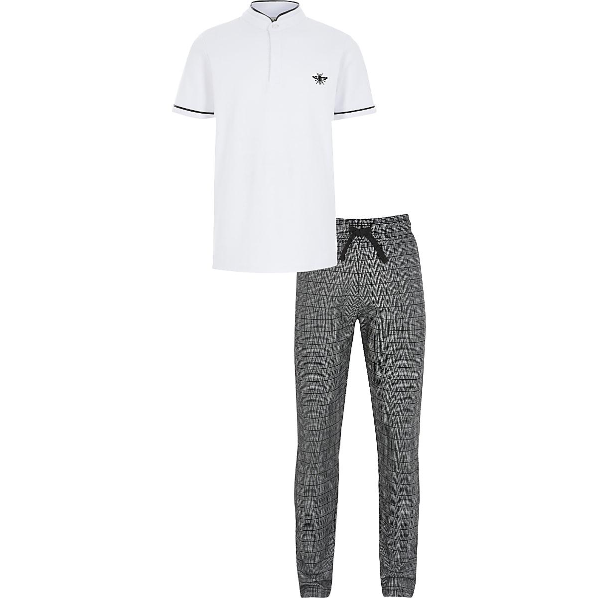 Boys white grandad collar polo shirt outfit