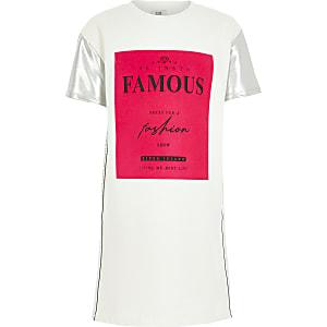 Witte T-shirt-jurk met 'Famous'-print voor meisjes