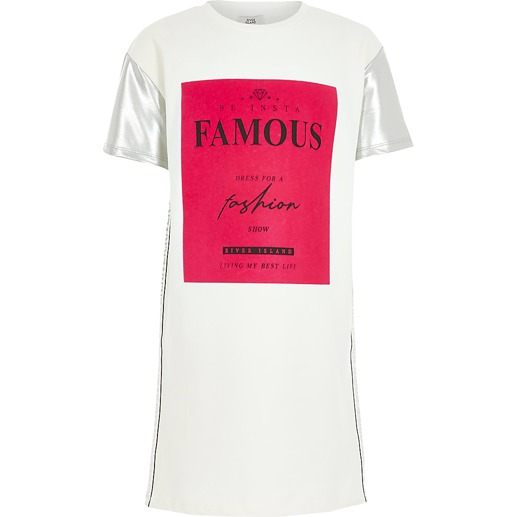 Girls white 'Famous' T-shirt dress
