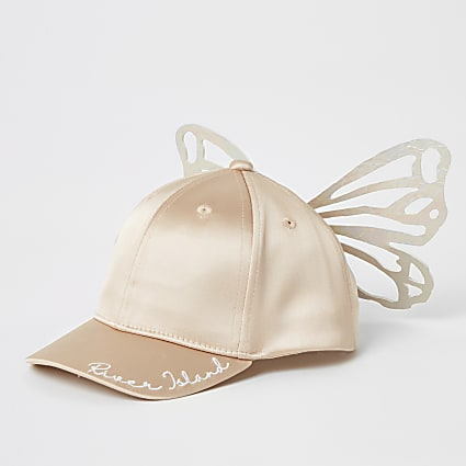 Mini girls pink butterfly satin cap