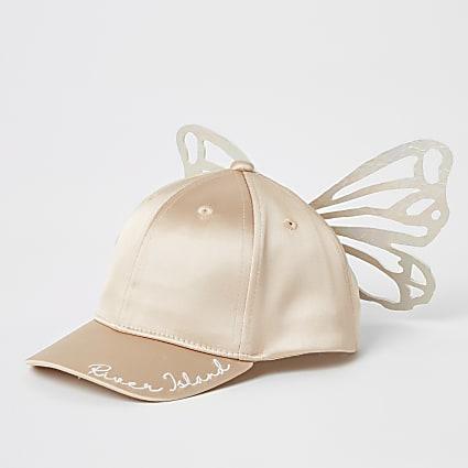 Mini girls pink butterfly satin cap