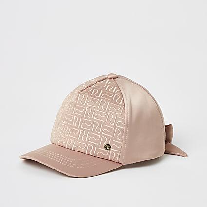 Mini girls pink RI monogram satin cap