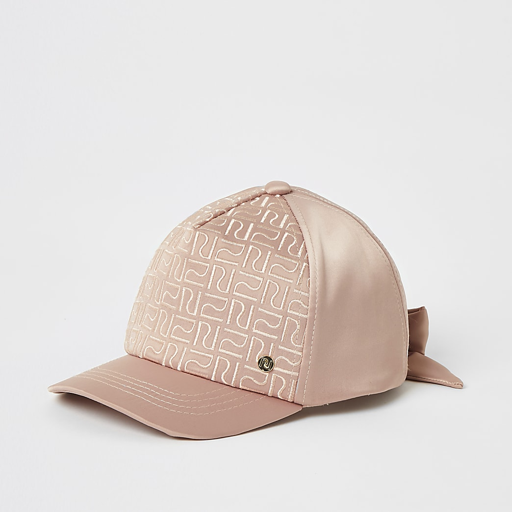 Mini girls pink RI monogram satin cap