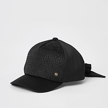 Mini girls black RI monogram satin cap