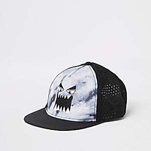 Blaue, flache Kappe mit Monster-Stickerei für Jungen