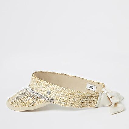 Girls beige diamante tassel straw visor hat