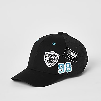 Mini boys black badge embellished mesh cap