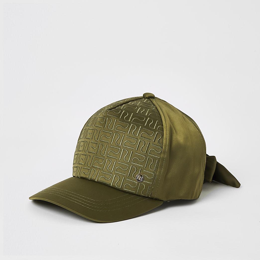 Girls khaki RI monogram satin cap