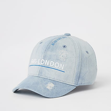 Boys blue denim RVR ripped cap