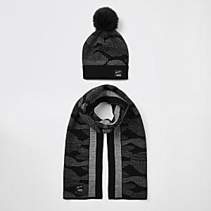 Schwarzes Mützen- und Schalset mit Camouflage-Print für Jungen