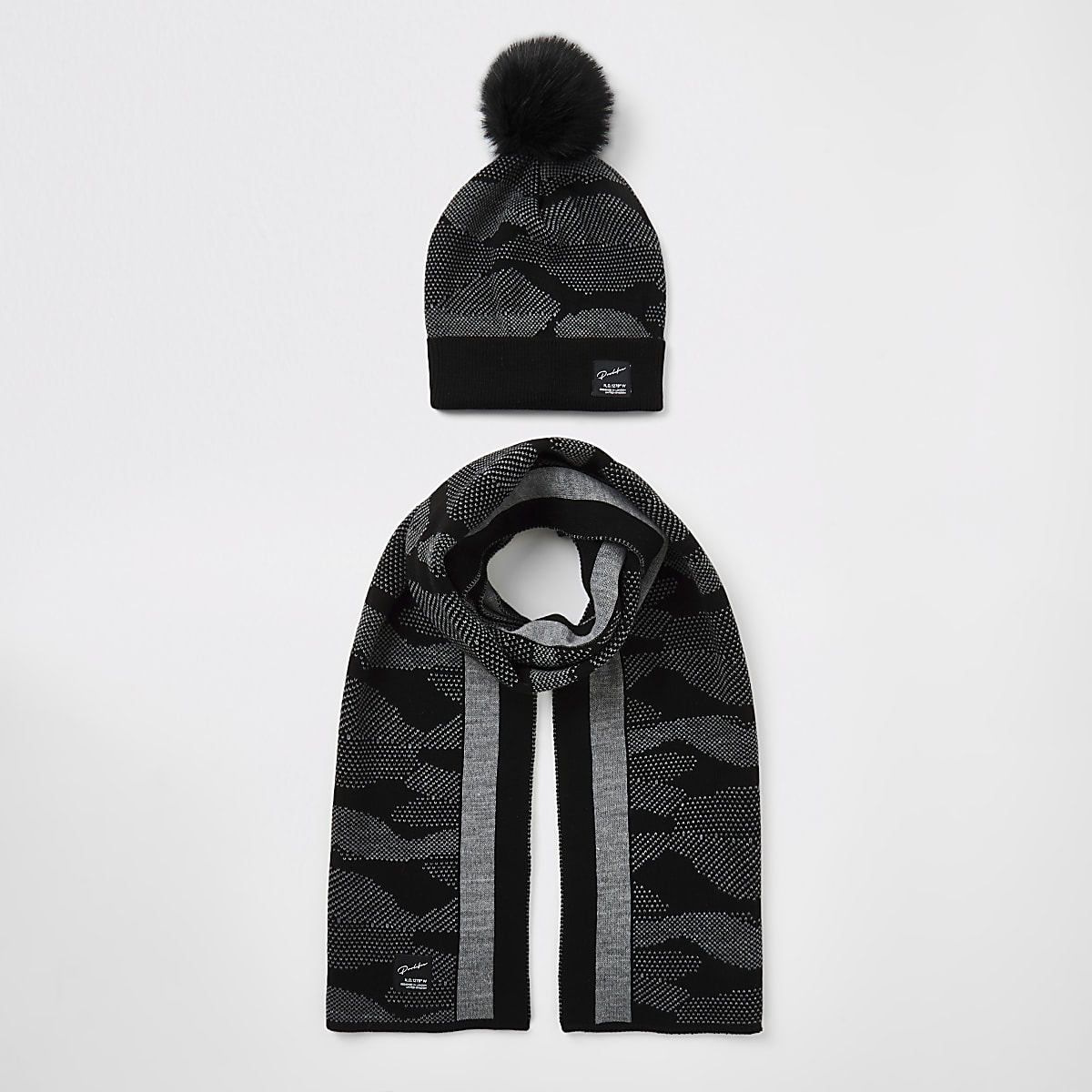 Boys black Prolific camo hat and scarf set