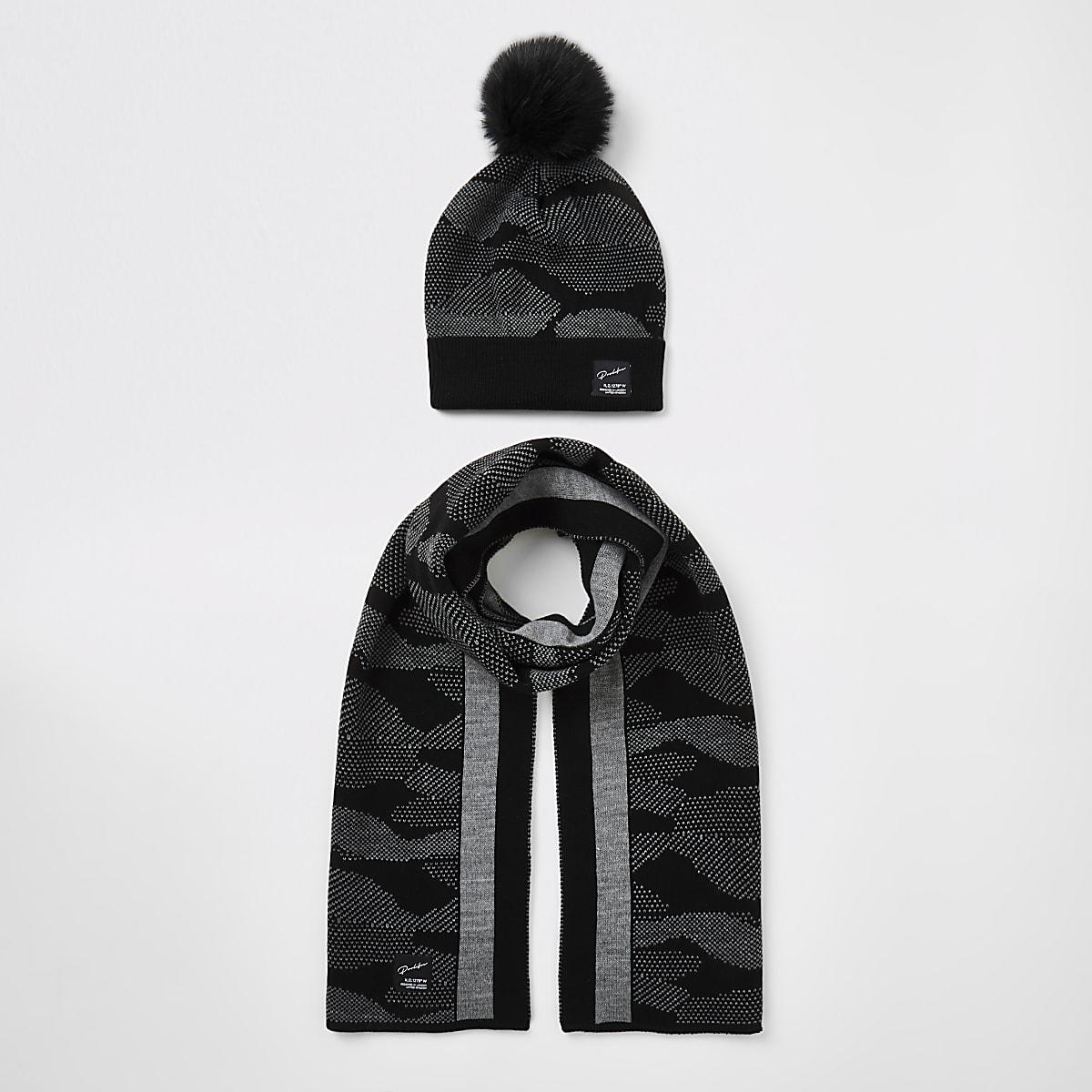 Ensemble Prolificavec chapeau et écharpenoir camouflage pour garçon